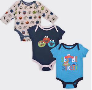 Sesame Street Elmo Oscar Cookie Baby Boy Lot of 3 Bodysuits NWT  3 6 9 mo