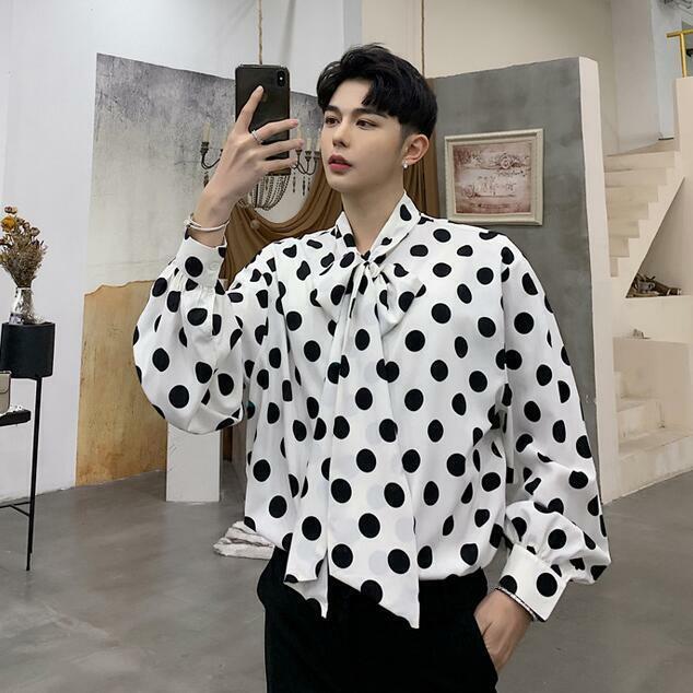 Mens Bowtie Long Puff Sleeve Dot Print Nightclub Loose T Shirts Tops Shirt Korea