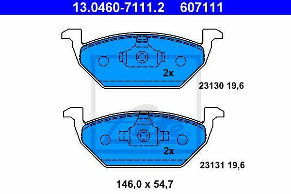 ATE Pastiglie Freno Anteriore 13.0460-7111.2 per Audi-Seat-Skoda-VW