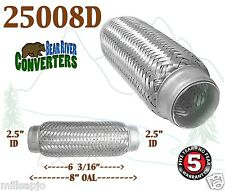 """Exhaust Flex Pipe Stainless Steel Double Braid 2.5"""" x 8"""" OAL 25008D"""