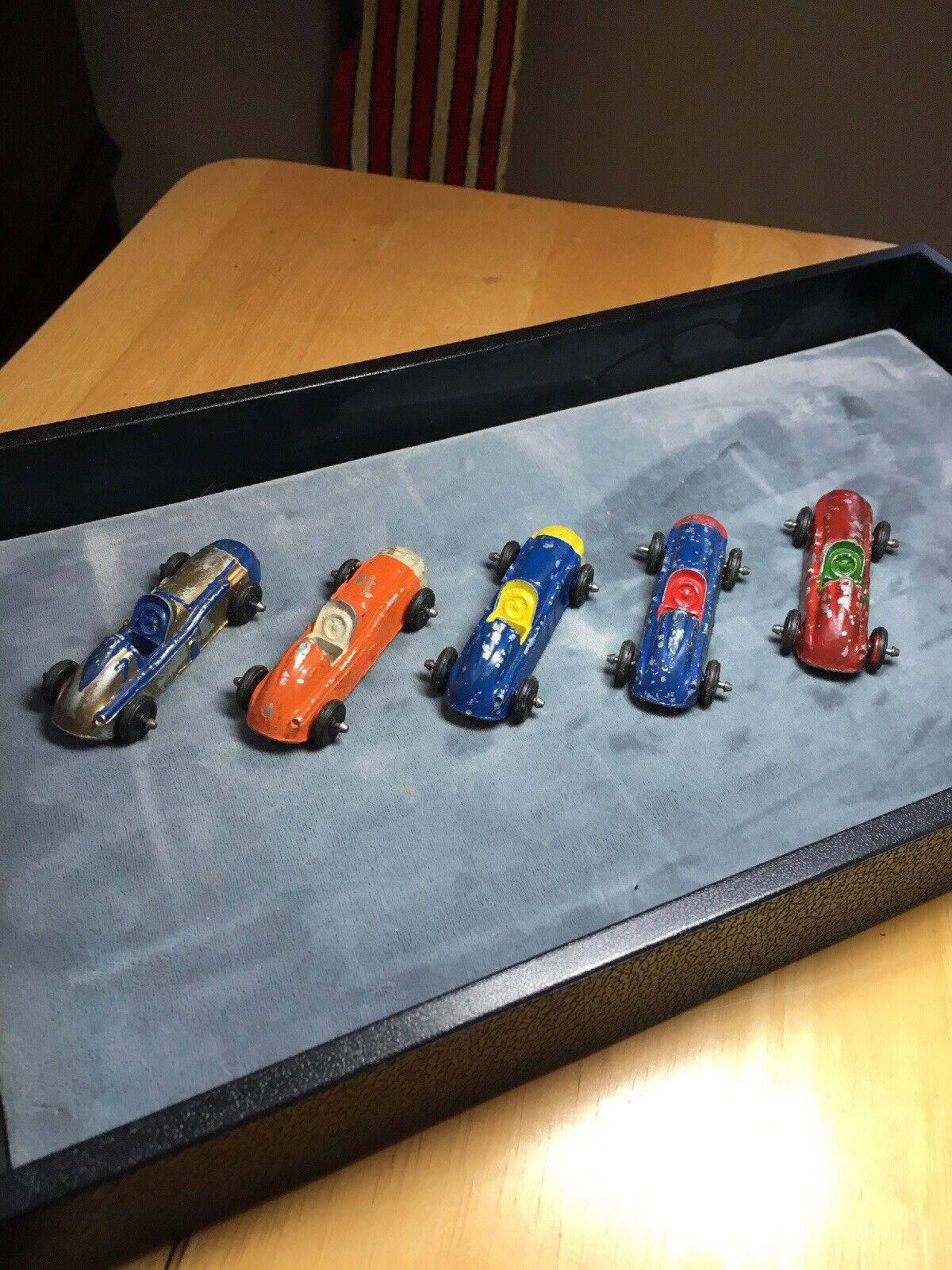 Set Of 5 Vintage Midge Toy Race Cars. Metal. 1960s.