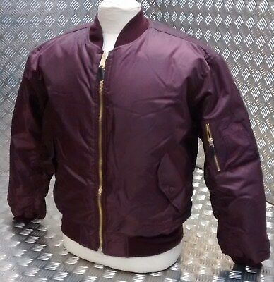 Ma1 Us Stile Militare Bomber Mod/scooter/bikers Tutte Le Taglie Maroon-nuova-kers All Sizes Maroon - New It-it