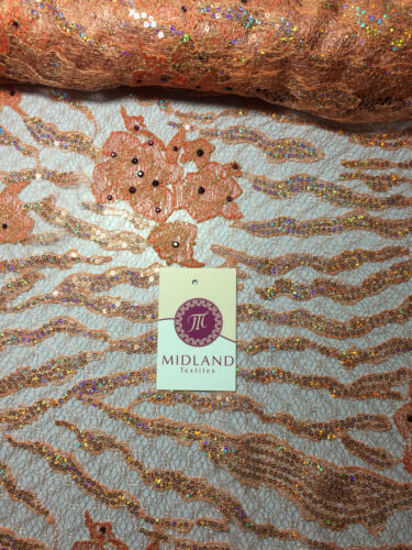 Peach floral embroidered sequins and stone embellishment mesh fabric M216 Mtex