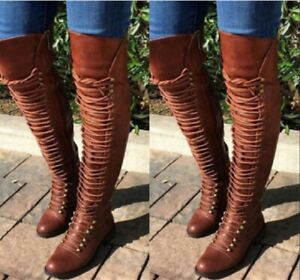 Women Over The Knee Boots Lace Up Block Heels Shoes Woman Plus Size Casual Shoe Ebay