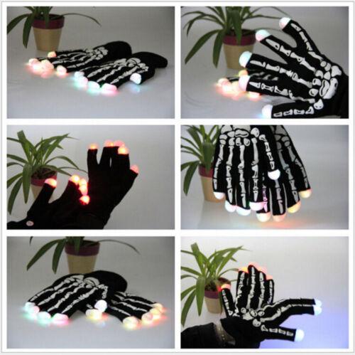 LED Skeleton Gloves Light Up Flashing Finger Lighting Glow Hip-Hop For Halloween