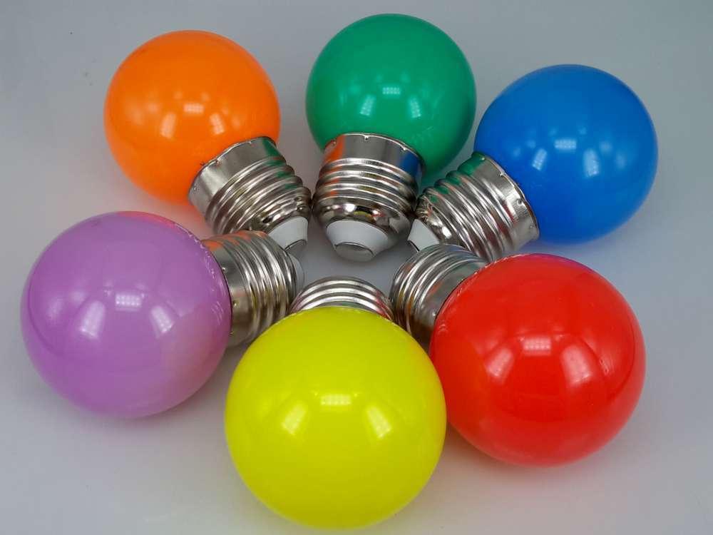 LED-lampe 1W G45 E27, 96 St.; grün, gelb, rot, blau, Orange, lila