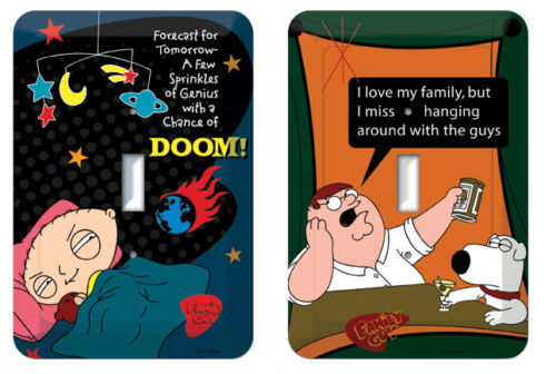 Wholesale lot of 12 assorted  Family Guy Tin Switch Plate Covers