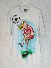 Vintage Airbrush T Shirt Punk Mohawk Soccer 50/50 XL