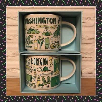 2x YAH Starbucks Been There Coffee Cup Oregon /& Washington You Are Here mugs