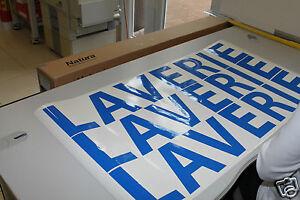 3 lignes 60 cm Texte perso Lettres blanches Adhésives de 5cm haut