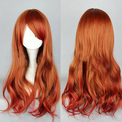 New Sexy Long Curly Wavy Hair Full Wig Hair Cosplay Party Lolita Brown Reddish