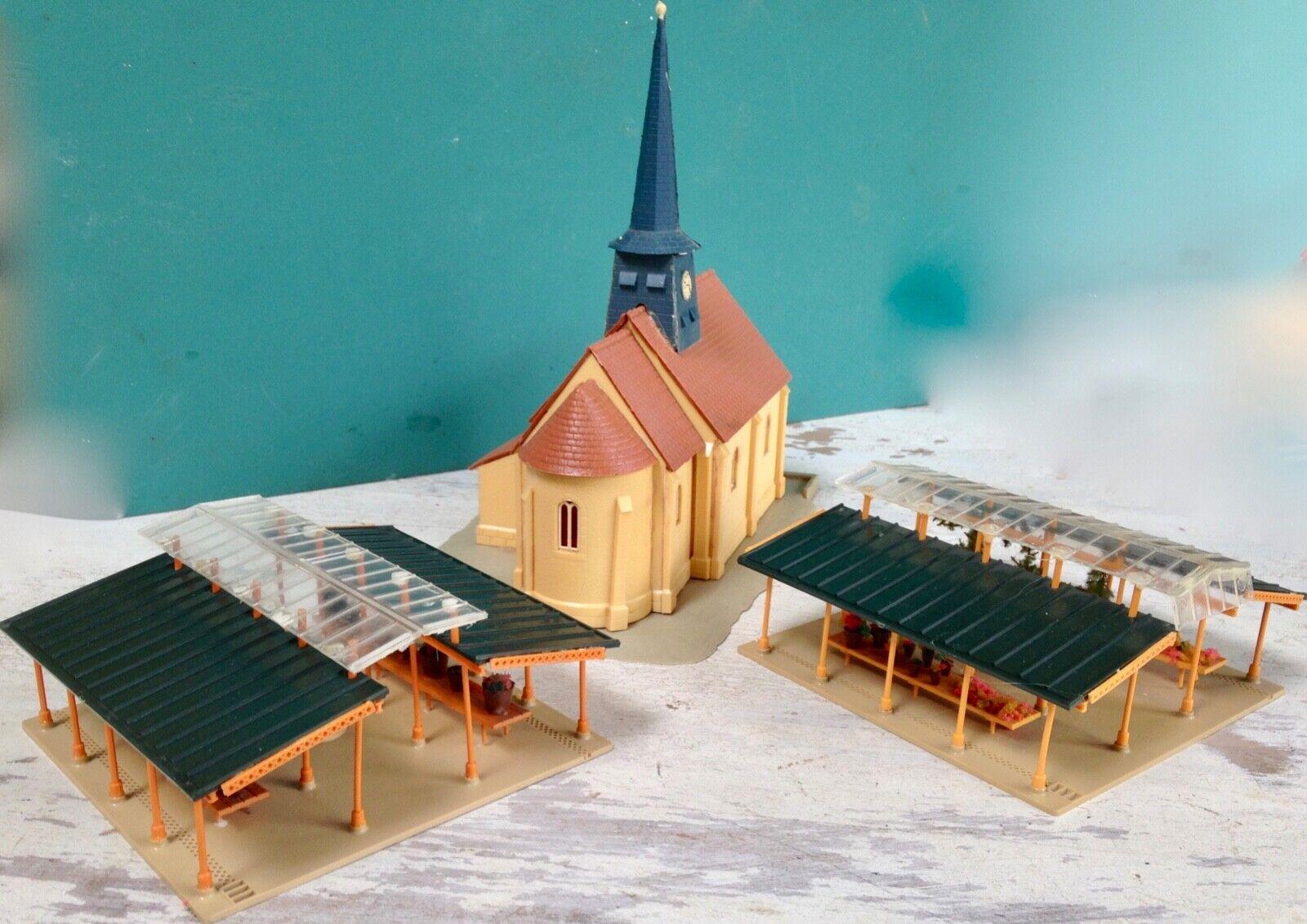 JOUEF église 2 htutties marché HO maquettes montées maison ville village décor