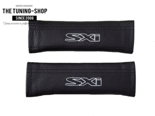"""2x SEAT BELT COVERS SHOULDER PADS LEATHER /""""SXI/"""" EMBROIDERY FOR VAUXHALL OPEL"""