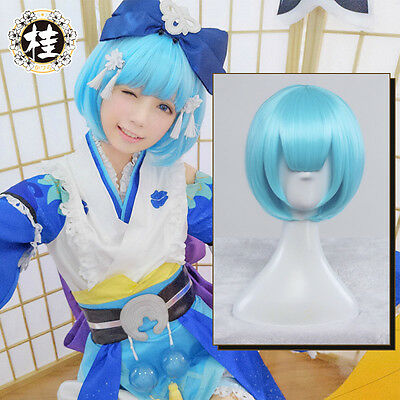 Japanese Harajuku Sweet Lolita Game  陰陽師、Onmyoji Blue Wig Cosplay Long Hair Wigs