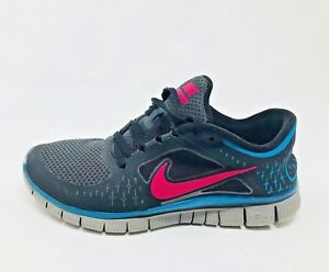 ee953d9be7b1 Nike Free Run 3 Black Running Shoes Pink Force Blue Reflect Size 8.5 ...