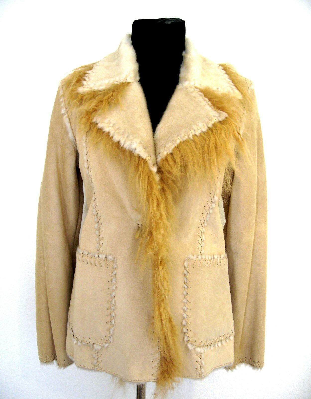 Guess Genuine Leather Suede Beige Western Santa Fe Style Size S