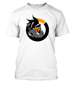 Overwatch-game-Tracer-logo-tshirt-t-shirt-tee-shirt-WHITE-ANY-SIZE