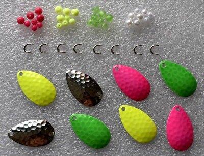 Blätterbügel Perle,Spinner 48 Spinnerbauteile,8 ROYAL Spinnerblätter Gr.3