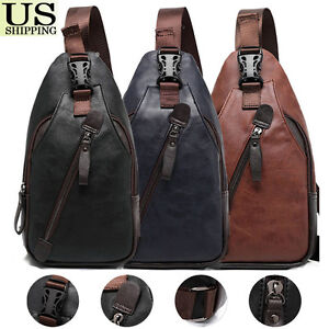 e1ea2f1c18f Details about Men's Leather Chest Sling Packs Shoulder Cross Body Bag Cycle  Day Packs Satchel
