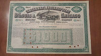 Chicago /& St Cincinnati Cleveland Louis Railway Company Stock Certificate