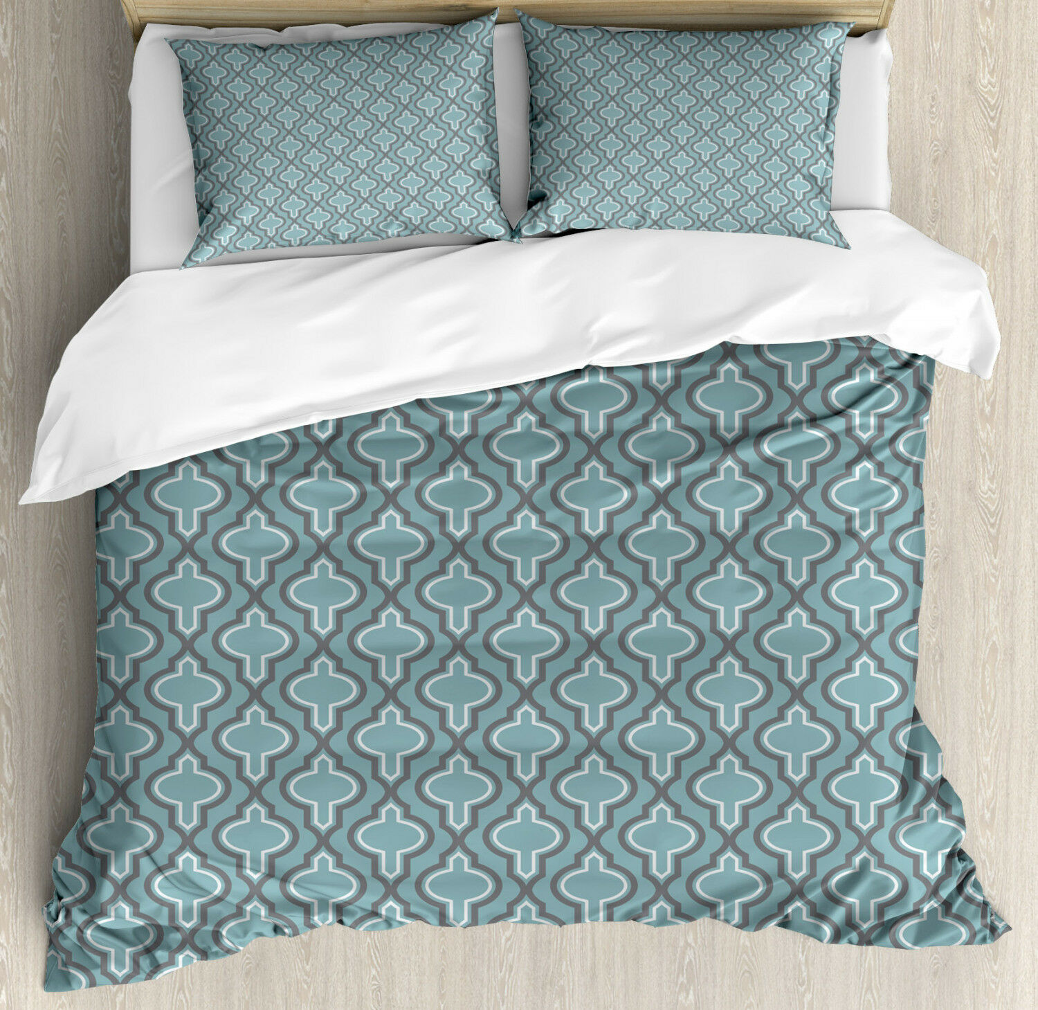 Turquoise Duvet Cover Set with Pillow Shams Ethnic Shapes Rounds Print