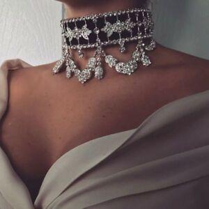Fashion-Women-Crystal-Choker-Collar-Necklace-Velvet-Necklace-Statement-Jewelry