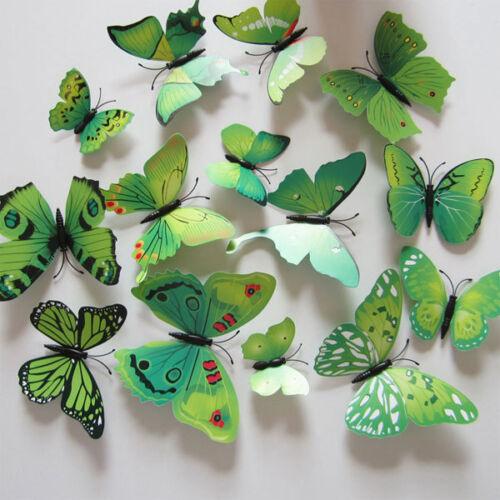 12pcs Papillon 3D PVC Art Design Decal Stickers Muraux Foyer Chambre Déco/%^