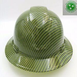 Full Brim Hard Hat Custom Hydro Dipped Green Carbon Fiber Super