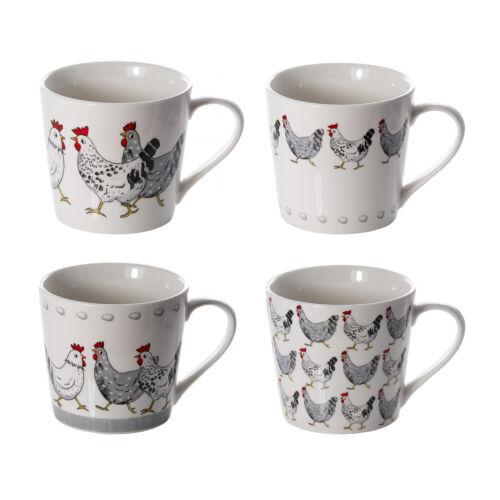 Set of 4 or 2 Mugs Porcelain China Large 426 ml Size Chicken Hen Animals Gift
