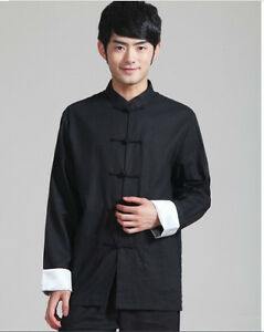 f03fa04c19 black Handsome Chinese men s linen clothing jacket coat SZ  M L XL ...