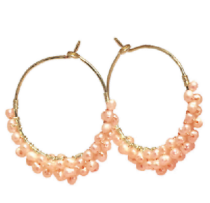 Details about  /Cleopatra Pale Pink Freshwater Pearl Earrings Wrapped Around Hoops USA Handmade
