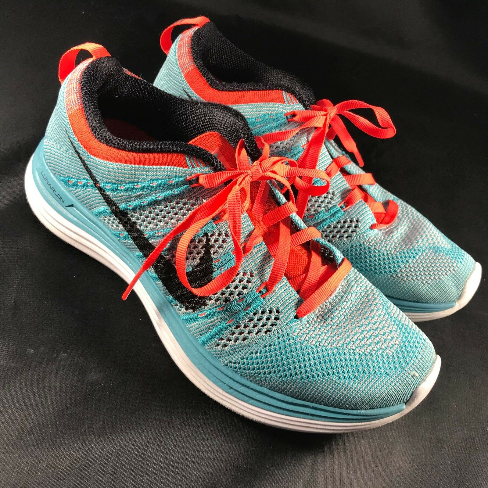 MINT Nike Flyknit Lunar +1 Women's Sz 6.5 37.5 EUR Teal Blue Coral Red