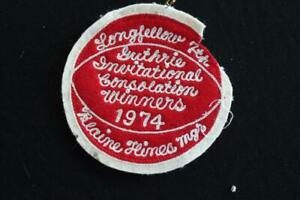 """VINTAGE 1970'S SCHOOL WOOL RED AND WHITE CHENILLE PATCH  4 1/2"""" X 4 1/2"""" INCHES"""