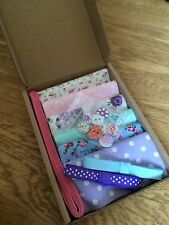 "Patchwork Craft Kit Shabby Chic Mix 4"" Fabric Squares Ribbon Buttons Floral Gift"