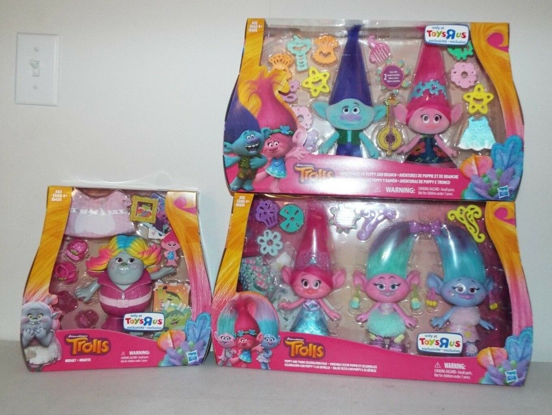 3 Dream Works Trolls Toys R Us Exclusive Bridget Poppy Branch Twins Celebration