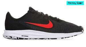 Detalles de Nike Downshifter 9 negro rojo Zapatillas Deportivas Running Hombre