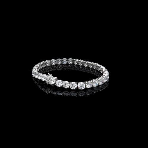"""25.00TCW Round Cut créé Diamond 7.25/"""" Tennis Bracelet Argent Sterling 925 6 mm"""