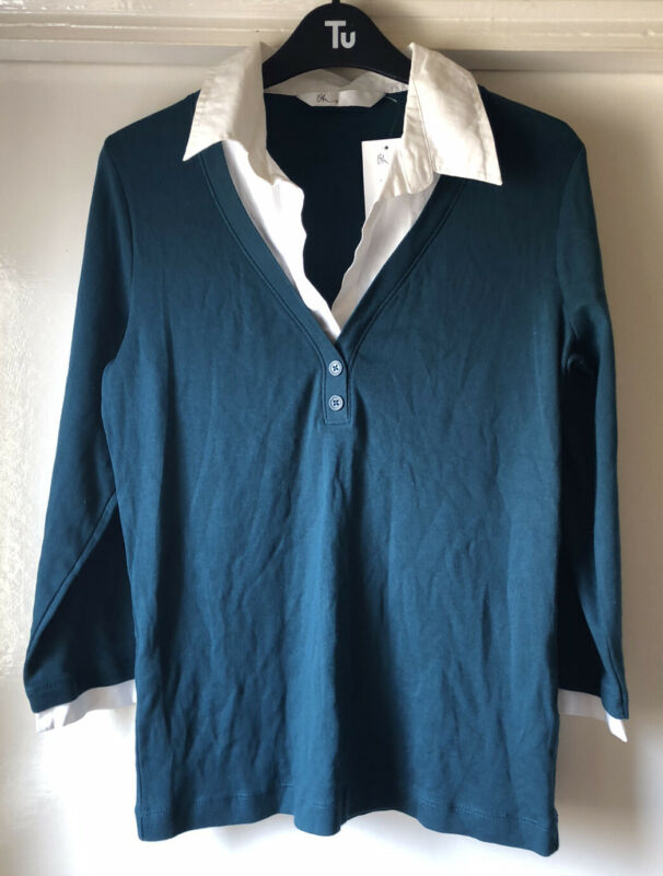 Bhs Size 14 Teal Green 3/4 Sleeve Lightweight Jumper With White Faux Shirt Bnwt Cheapest Price From Our Site