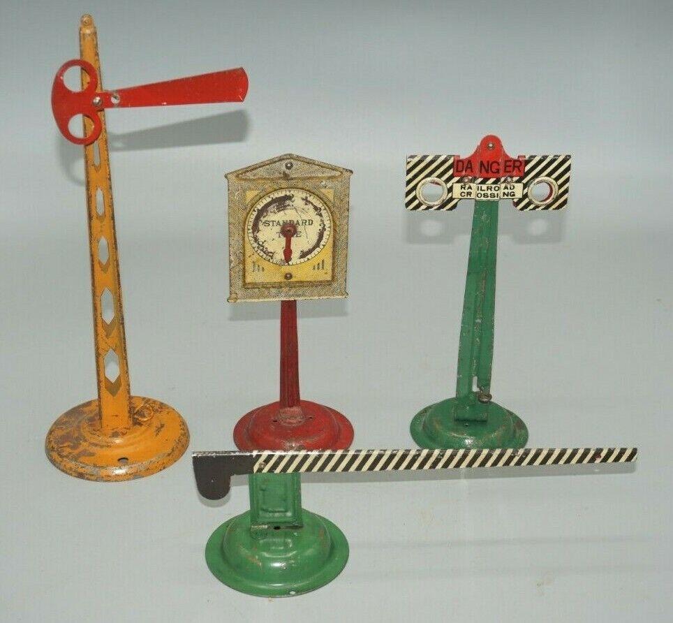 Lote de 4 Vintage American Flyer estándar o calibre semáforo, señales, Reloj, Etc.