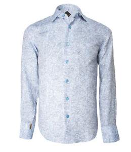 Billionaire Couture Men/'s Floral Blue Silk Dress Shirt Salerno Regular fit