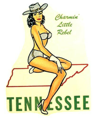Tennessee Pin-Up Girl  Vintage 1950/'s Style   Travel Sticker Decal Label