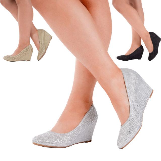 c391b3aa8b6 Women Gold Black Silver Court Shoes Closed Toe Wedges Platform Heels Size  3-7