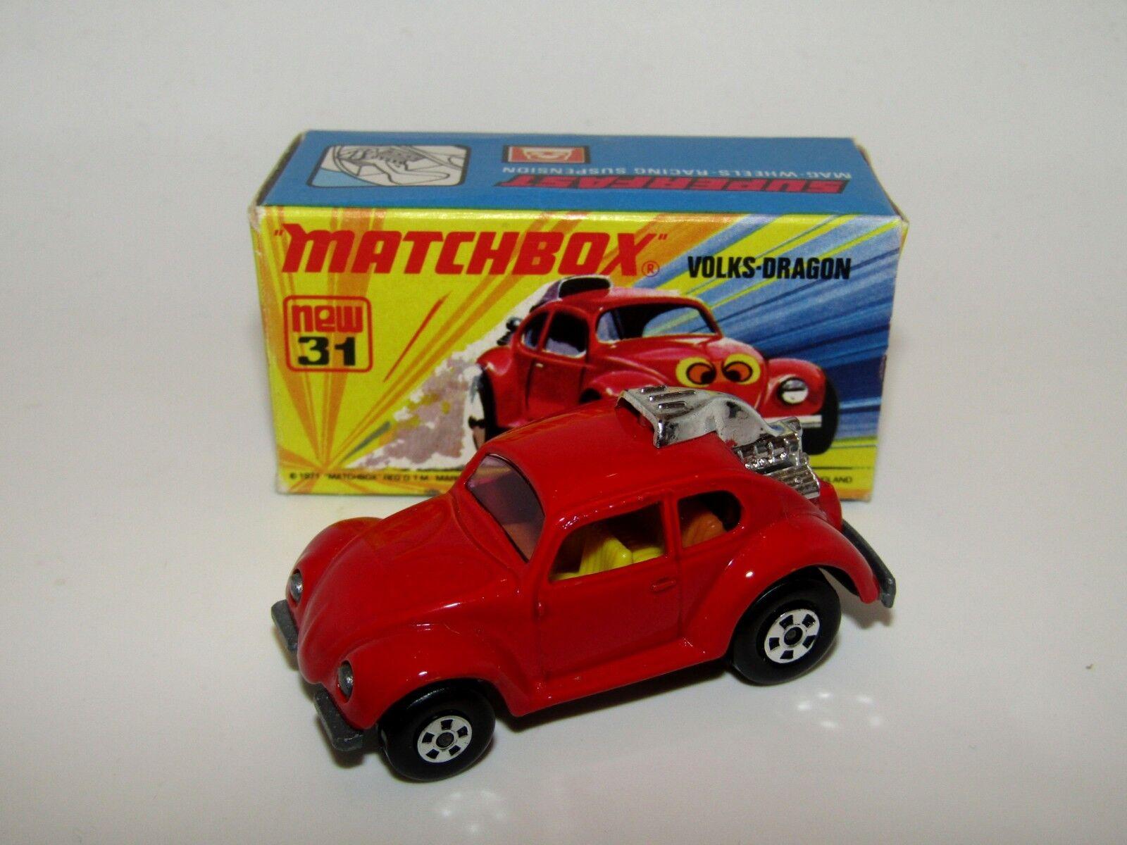 MATCHBOX SUPERFAST N. 31 Volks-Drago Rosso Scuro Giallo Interno NO LABEL Nuovo di zecca con scatola