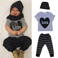 3pcs Newborn Baby Boy Girl Infant T-shirt Top+Pants+Hat Clothes Outfit Set 0-24M