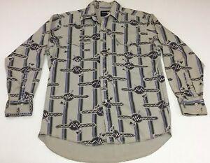 Vtg-Men-039-s-Wrangler-Western-Shirt-Cowboy-Cut-Tomahawk-Aztec-Print-Sz-L-16-33