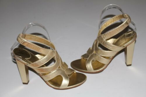 "DVF 7 M Gold Leather Strappy Sandals 3.5"" Square H"
