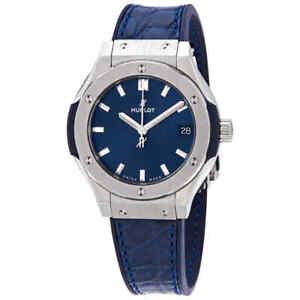 Hublot Classic Fusion Blue Dial Blue Leather Ladies Watch 581.NX.7170.LR