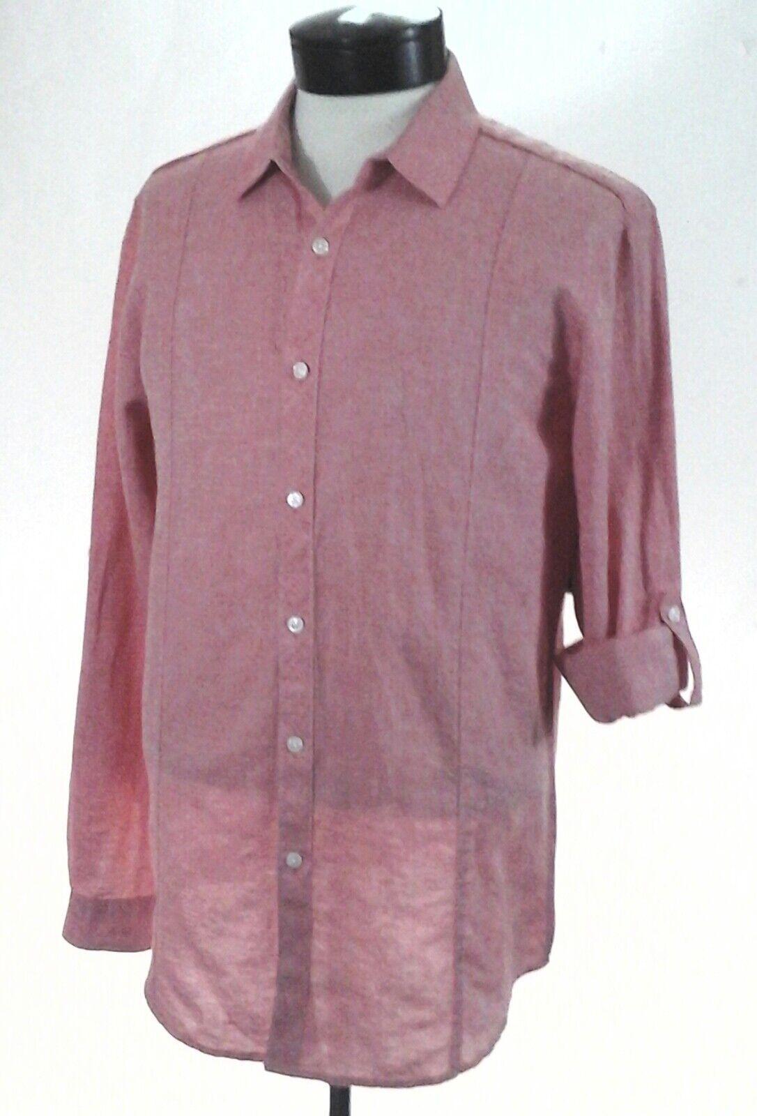 INC Linen Blend Shirt Coral Red orange Button Up L S Casual Summer Men's M