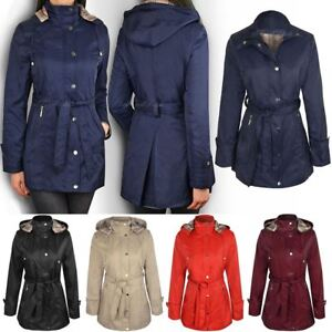 New Summer Mac Jacket Womens Ladies Coat Smart Belted Fitted Trench ... 7480adcf67