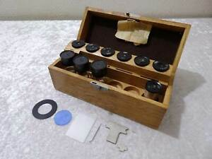 DDR-Carl-Zeiss-Jena-Microscopio-7X-Oculares-entre-Otros-En-Madera-Caja-Vintage